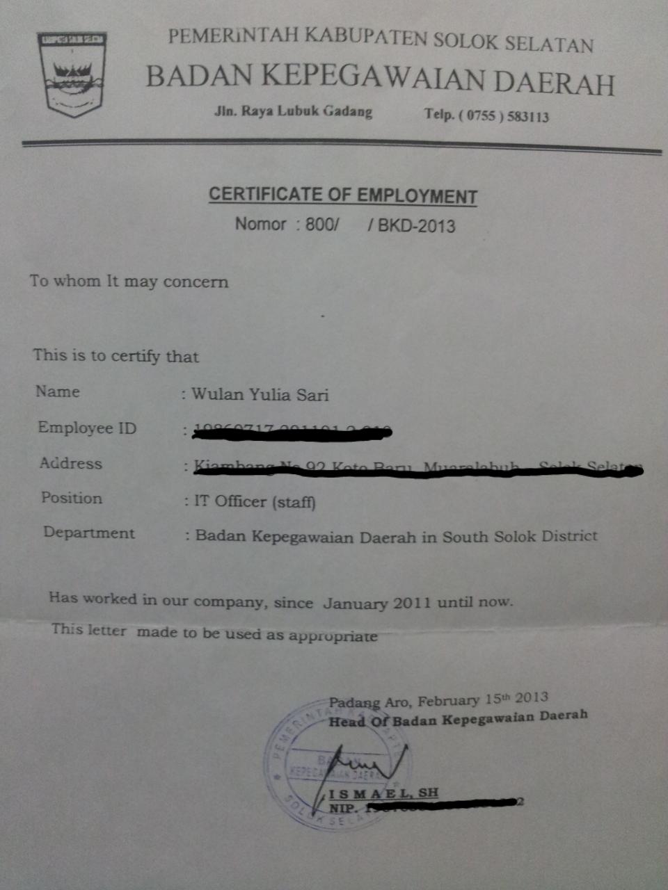 Lowongan Kerja Pekerjaan Versi Bahasa Inggris Situs Lowongan Kerja Indonesia Karir Kerja Mu 9 Ags 2014 Contoh Surat Keterangan Kerja Sebuah Surat