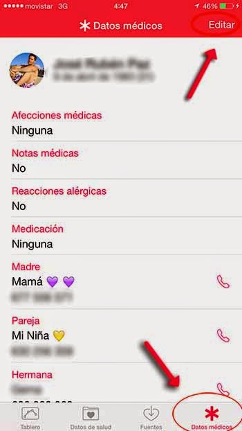 SOS datos médicos iphone