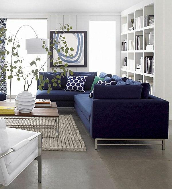 Wohnzimmergestaltung Mit Blauem Sofa
