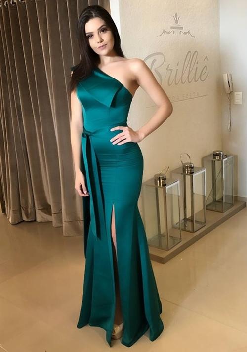 vestido de festa verde esmeralda longo