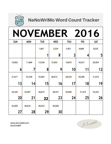 NaNoWriMo 2016 Word Count Tracker