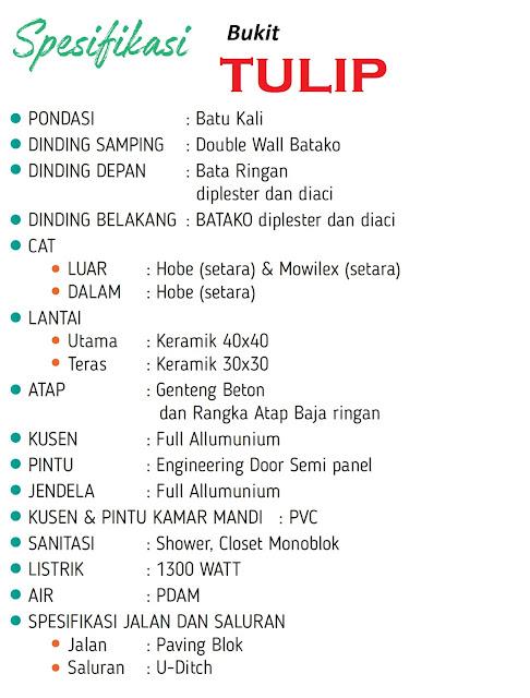 Spesifikasi Rumah Bukit TULIP Citra Indah City