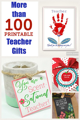 Celebrate Teacher appreciation week with a fun printable gift.  Your teacher will love these unique ideas and you will love how quick and easy they come together.  The perfect teacher gift is just a click away. #teachergift #printablegift #diypartymomblog