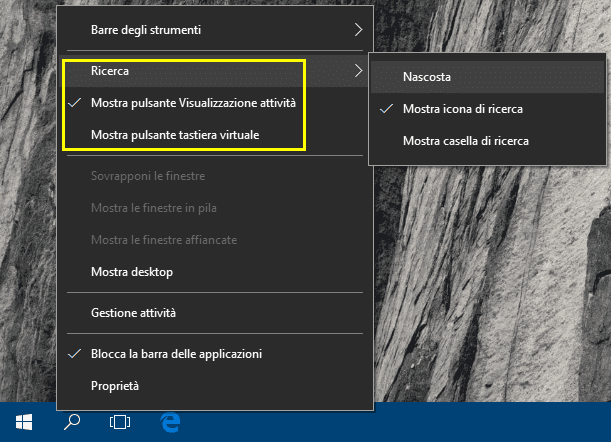 Nascondere mostrare icone barra applicazioni Windows 10