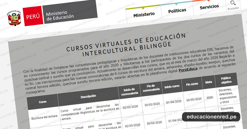 MINEDU: Cronograma de Cursos Virtuales de Educación Intercultural Bilingüe 2020