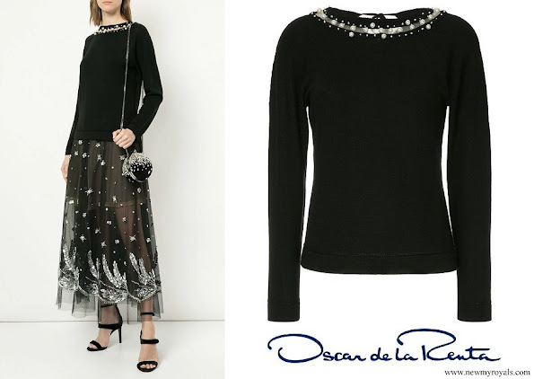 Crown Princess Mary wore OSCAR DE LA RENTA pearl-embellished sweater