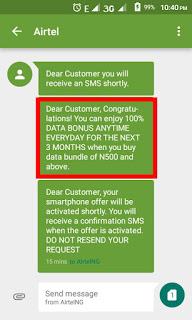 Congratulation message from Airtel to get Doubled Data Bonus