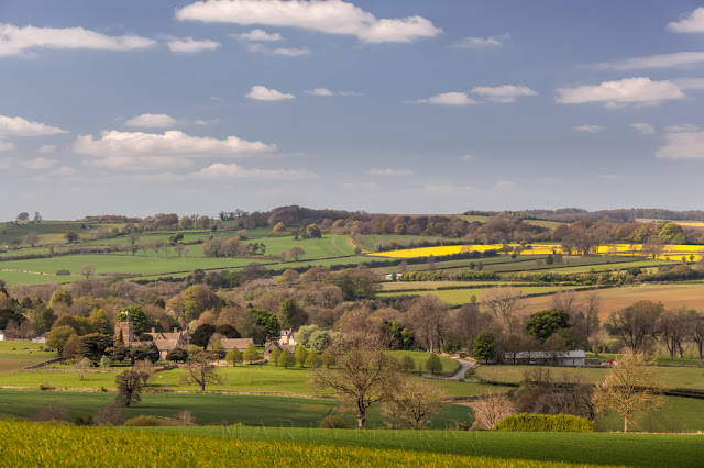Cotswolds landscape on a sunny day near the village of Guiting Power