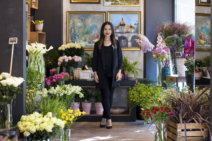 lady in a flower shop
