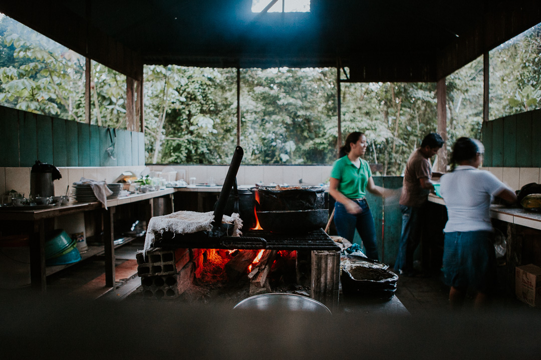 Rustic Peruvian rainforest kitchen in Iquitos Ecolodge