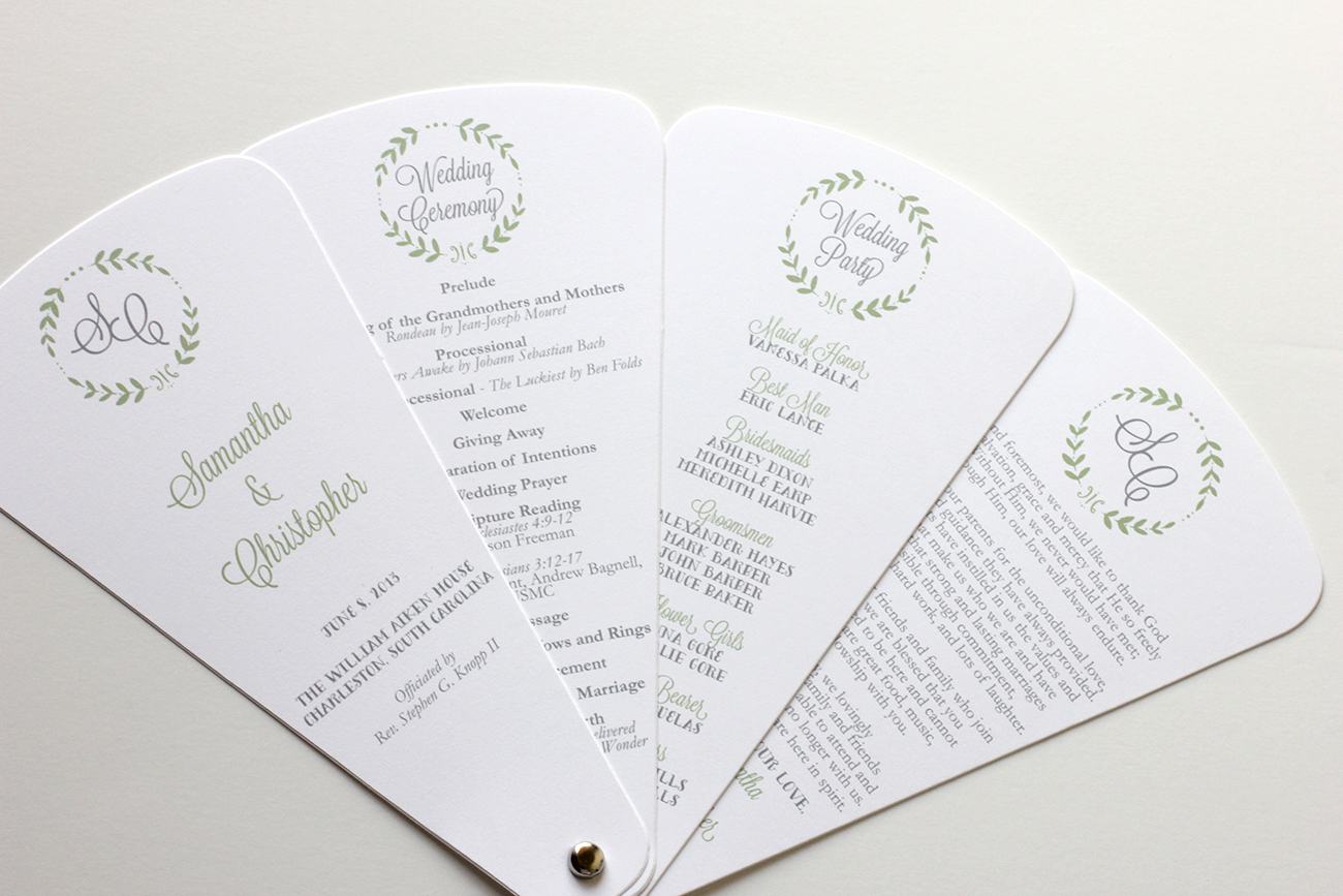 celadon gray petal program wedding fans wedding fans