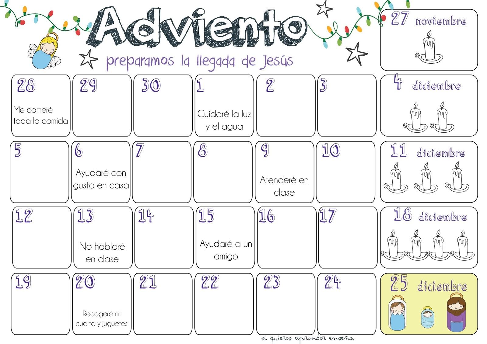 Si quieres aprender ense a calendario adviento 2016 for Calendario adviento 2017