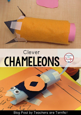 Second Grade STEM: Create a chameleon that not only changes color, but also changes into something- like the pencil in the photo! Check the blog post for more information!