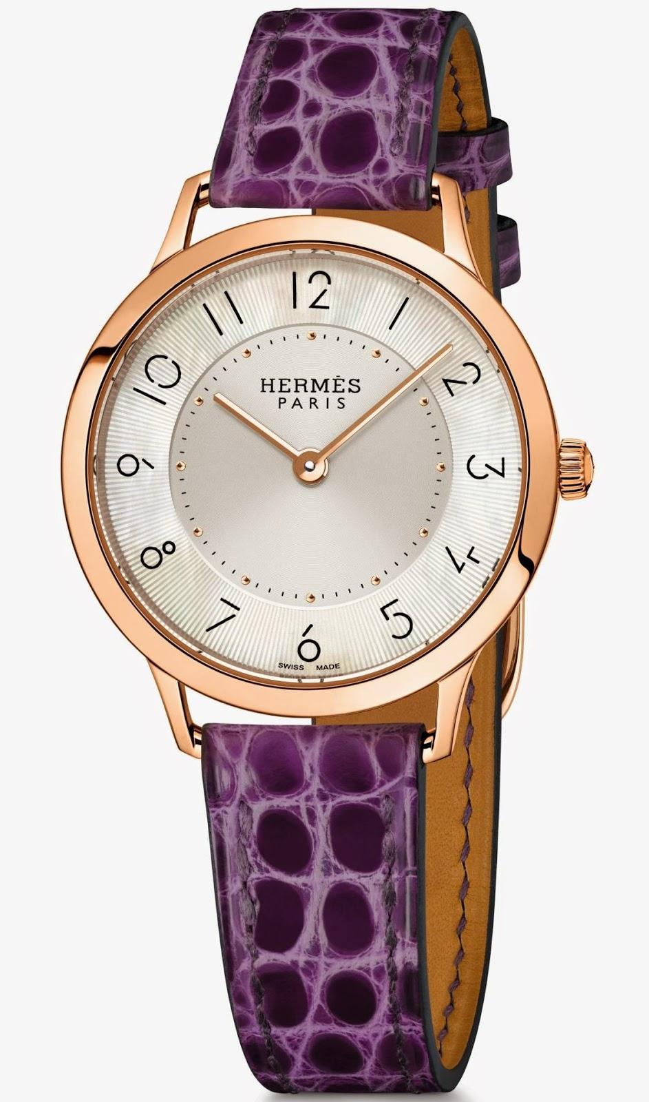 Slim d'Hermès Quartz watch Rose Gold, 32 mm