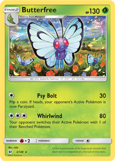 Butterfree Sun and Moon Pokemon Card