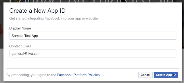 create a new app ID facebook developers