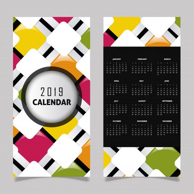 2019 Calendar Design Free Vector