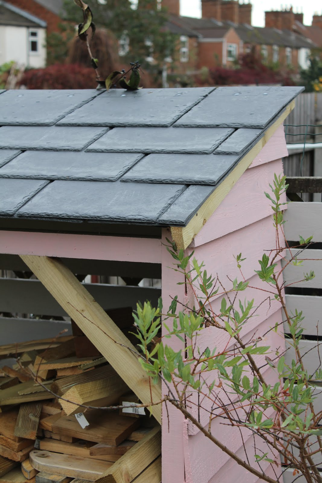 tapco synthetic slate tiles on garden shed