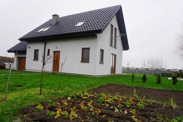 Dom drewniany szkieletony z elewacją otynkowaną