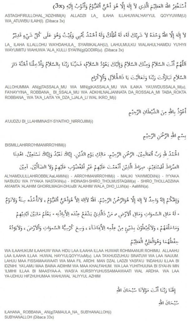 Bacaan Wirid Pendek Setelah Shalat