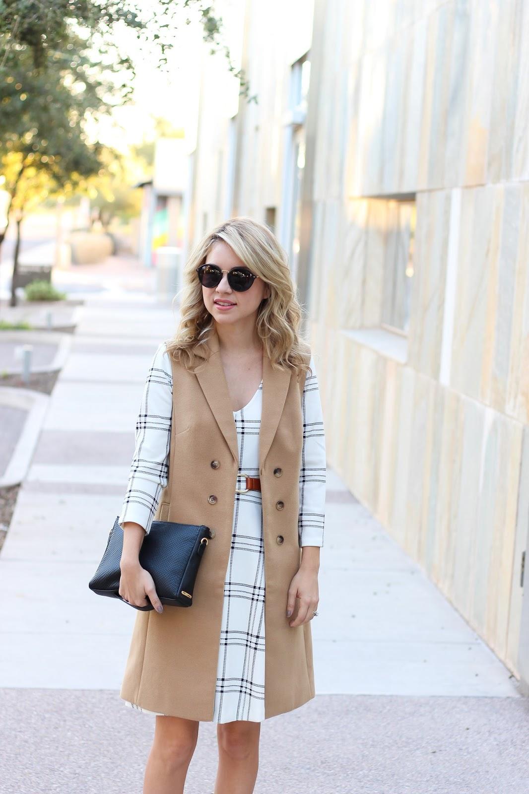 style - LBC - Trench Vest - plaid dress - simply sutter - look book