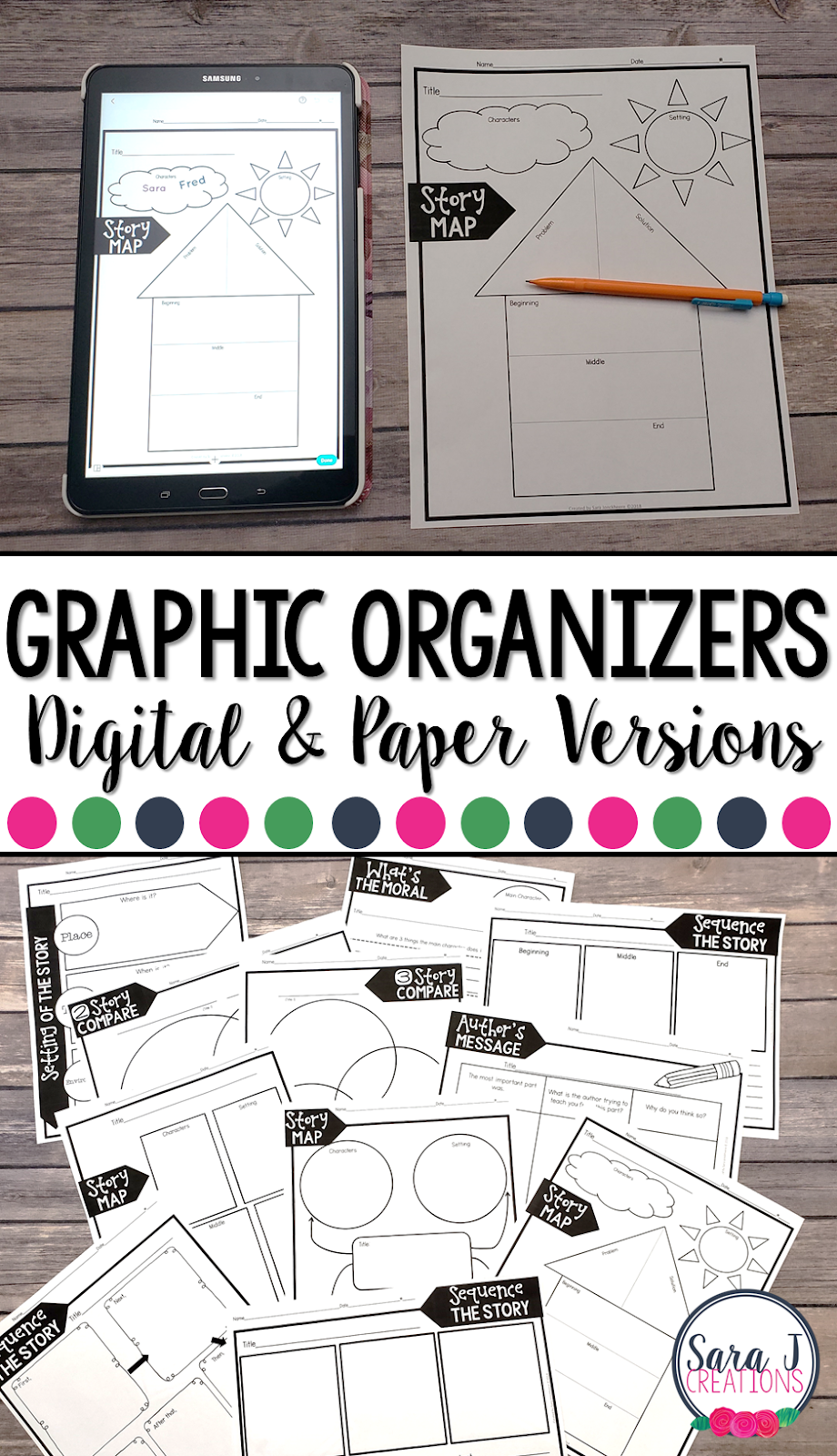 40 graphic organizers that can be printed and also includes the digital version to be used with the PicCollage App. Check out the video for tips on going paperless and using the PicCollage App.