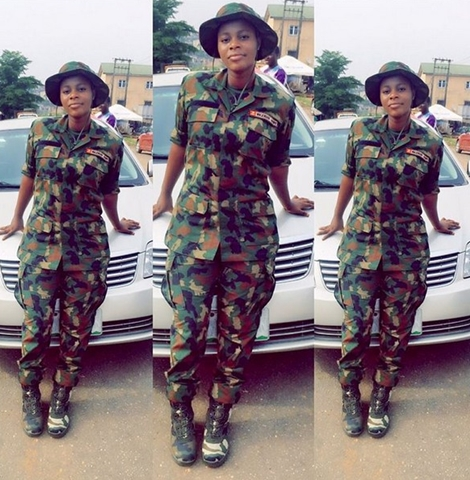 Most Endowed Female Soldier? Meet the Pretty Hot Army Officer Who is Rocking Lagos NYSC Camp (Photos)