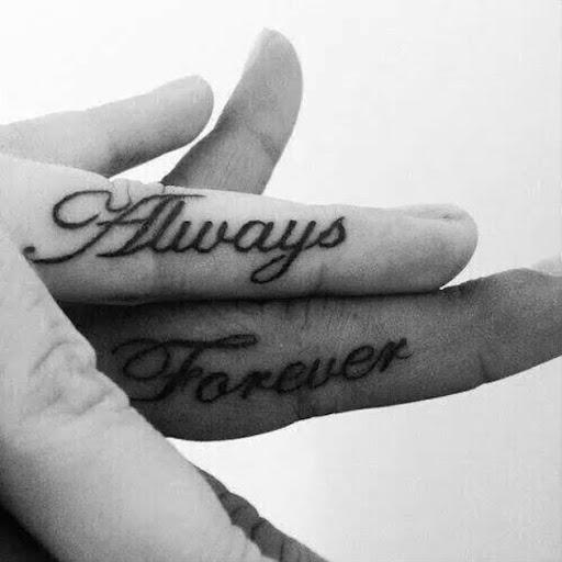 Sempre e para sempre, aliança de casamento anel de tatuagens