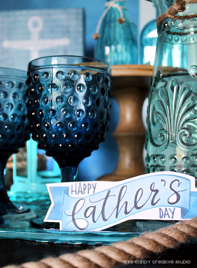 free father's day art, beach theme dessert table, shades of blue