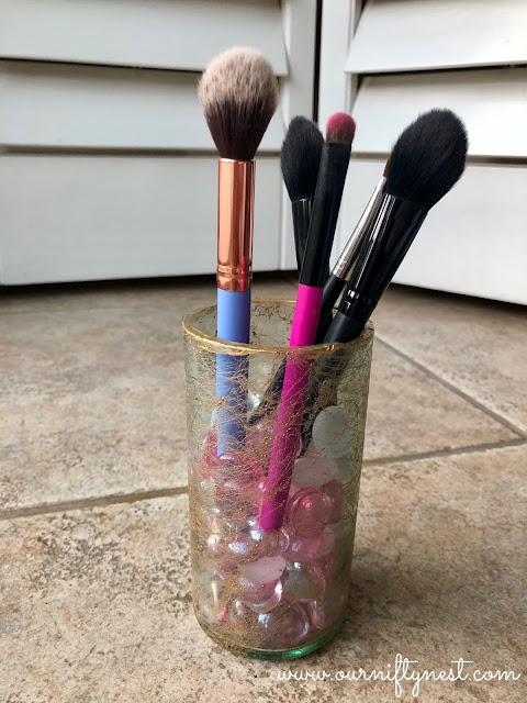 DIY wine bottle makeup brush holder