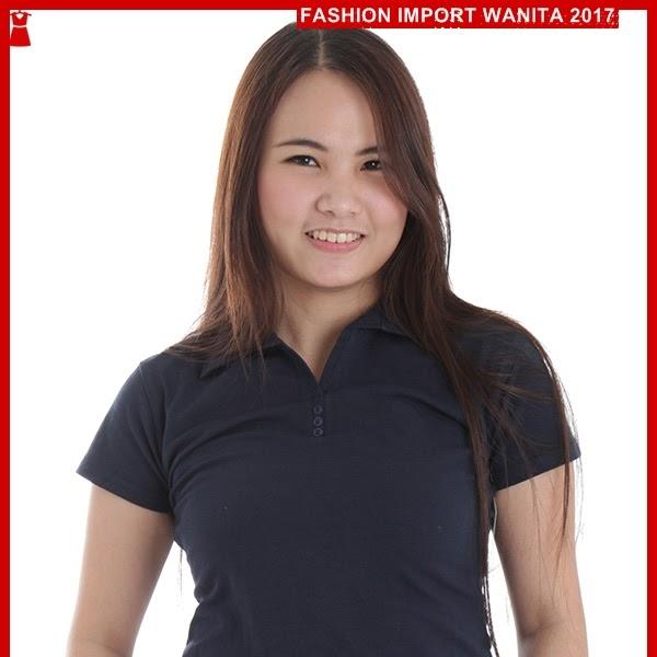 ADR130 Kaos Dongker Biru Polo Wanita Import BMGShop