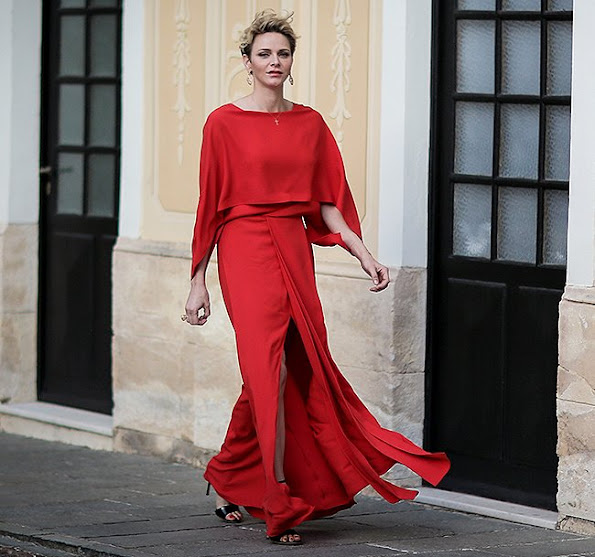 Princess Charlene wore Valentino red dress and JIMMY CHOO Moxy 85 Sandals