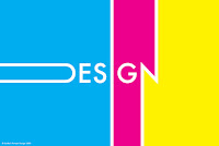 The word Design strewn across blue pink and yellow shapes