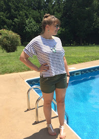 I am sharing the perfect outfit to wear for a casual outdoor event, a striped ruffle sleeve top with olive shorts.