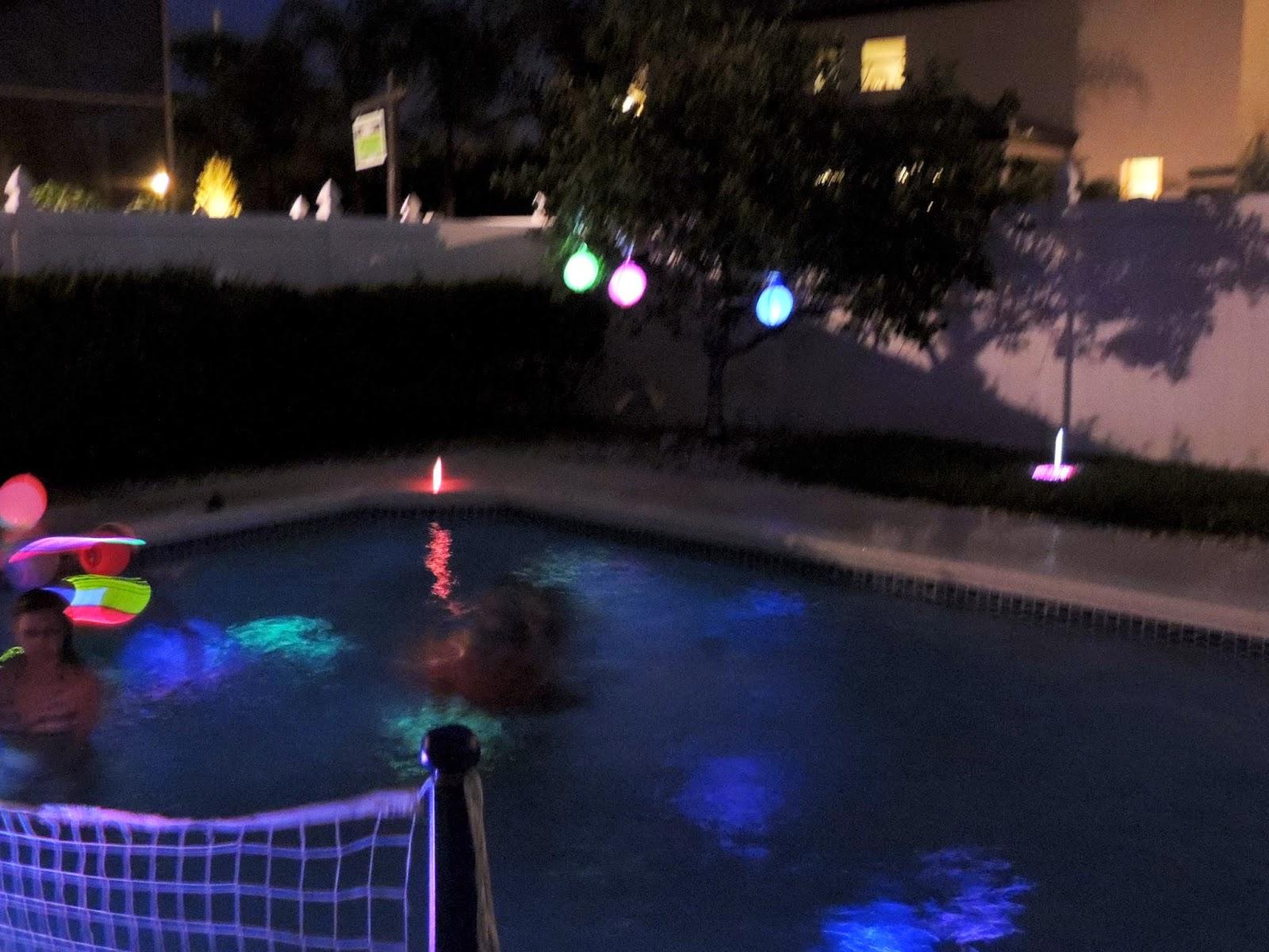 Juliana grace blog space glow in the dark pool party - Glow in the dark swimming pool toys ...