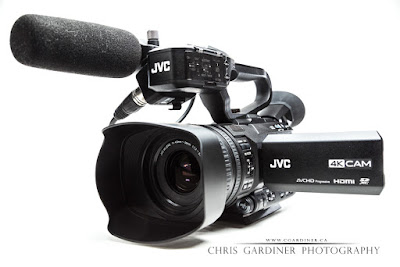 The JVC GY HM170 UA 4K Video Camera shown on a white background as a product style photograph captured by Chris Gardiner Photography