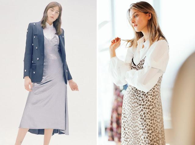 Серое и леопардовое платье-комбинация с белой рубашкой