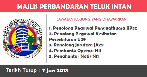 Jobs in Majlis Perbandaran Teluk Intan (MPTI) (7 Jun 2018)