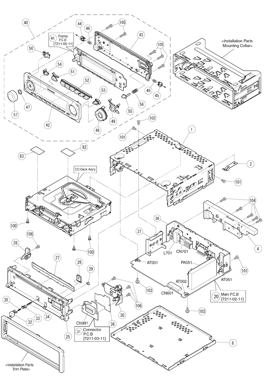 panasonic cq-c3302n circuit diagram  u2013 exploded view