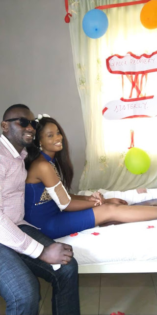 Photos/Videos: Nigerian man surprises his girlfriend with proposal/engagement party at hospital where she has been since 2016 after fatal accident