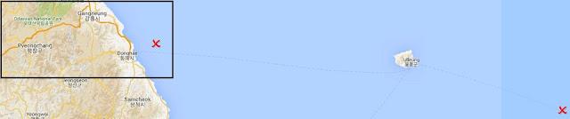Mapa con la ubicación real de Dokdo