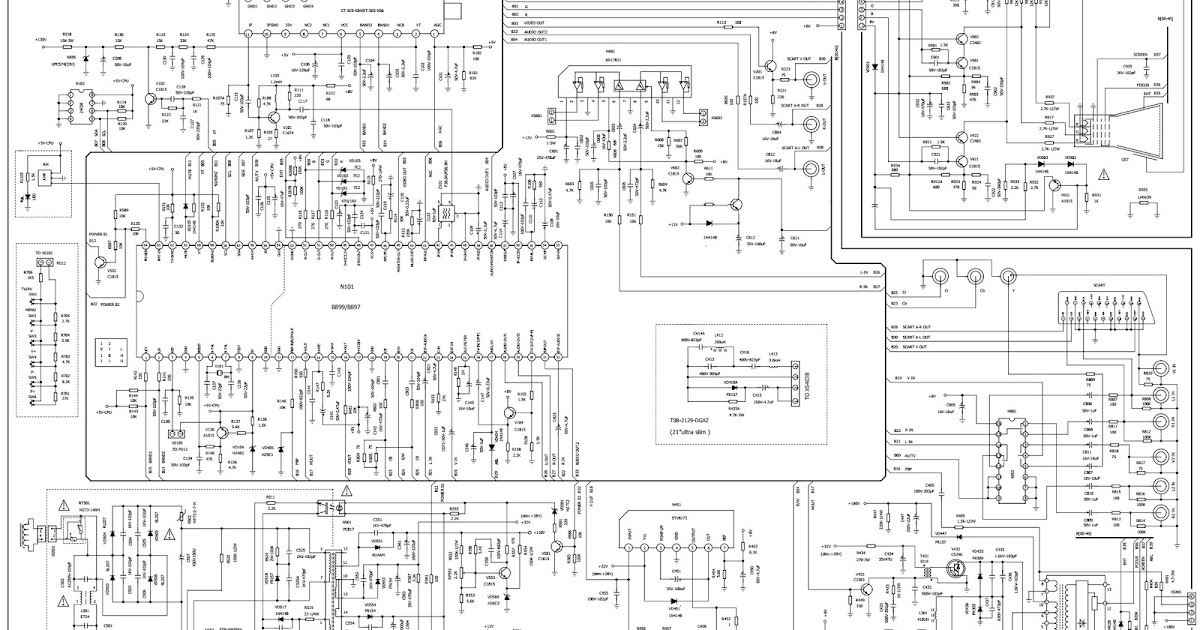 Schematic Diagrams  Color Tv  U2013 Slim And Ultra Slim Type  U2013 Circuit Diagram  U2013 8899 Or8897 Syscon Ic