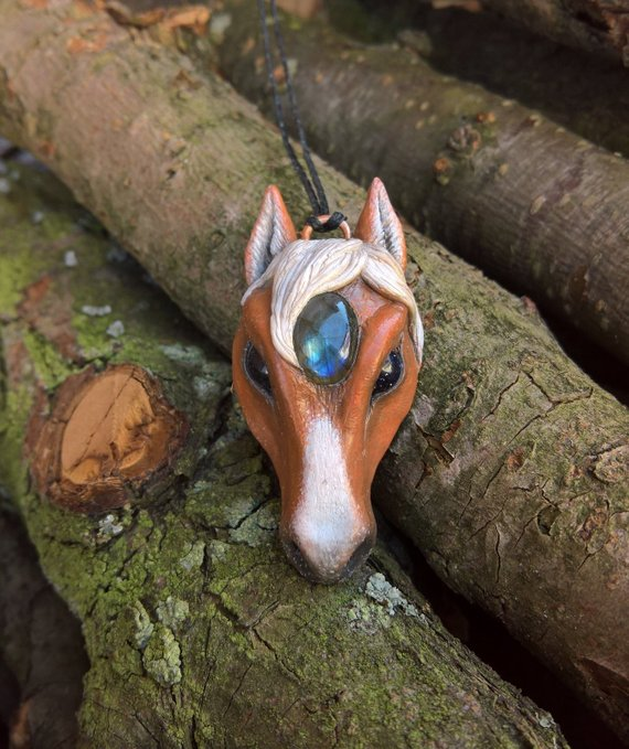 yunocrafts' polymer clay animal pendant horse