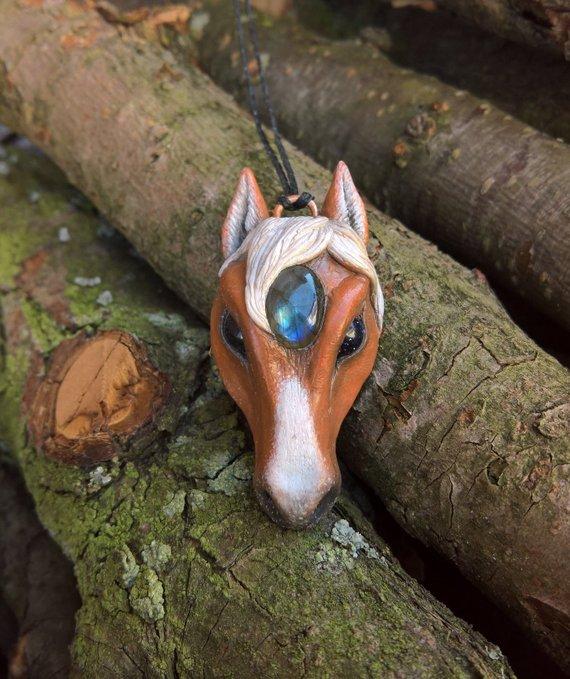 yunocrafts' polymer clay animal pendant horse