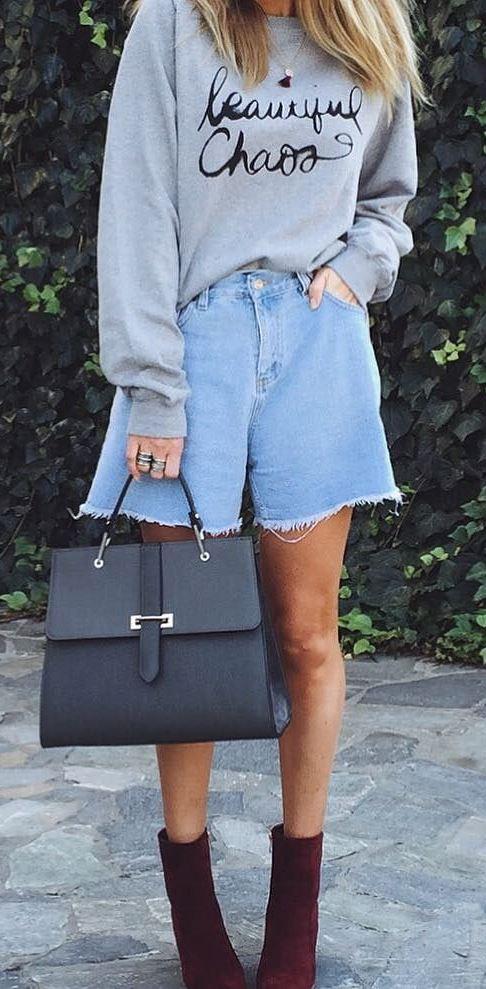casual style addict: sweatshirt + bag + shorts