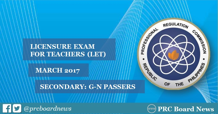 G-N List of Passers: March 2017 LET Result