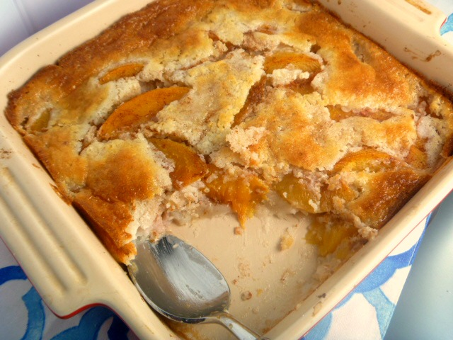 Easy Cinnamon Peach Cobbler (Family Sized):  The perfect southern dessert that so easy to make! Double the recipe to feed a crowd. - Slice of Southern