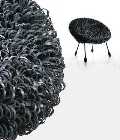 EcoNotascom Silln Blacksheep con Cmaras de Aire Muebles Reciclados
