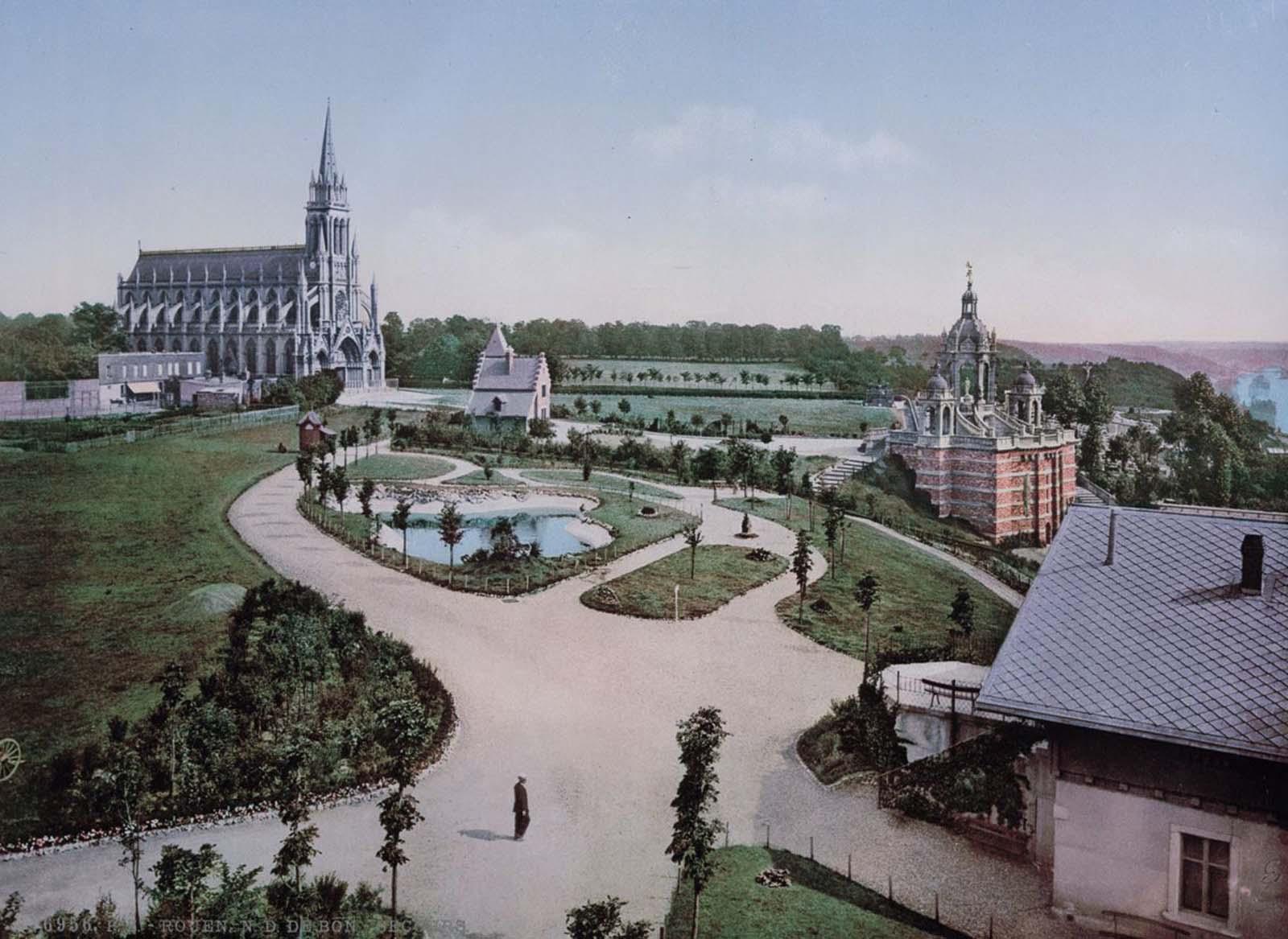 Notre Dame de Bon Secours and Joan of Arc's monument, Rouen.