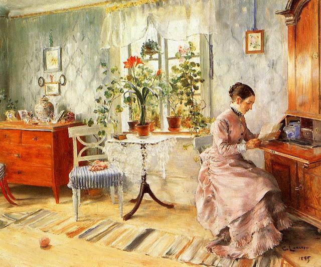Шведский художник Карл Улоф Ларссон  Carl Olof Larsson (1853 - 1919) - Читающая женщина